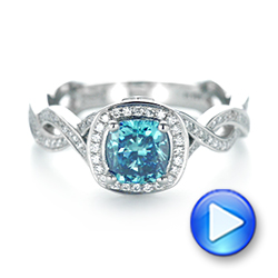 Platinum Custom Blue And White Diamond Halo Engagement Ring - Video -  103502 - Thumbnail