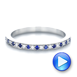 14k White Gold Custom Eternity Blue Sapphire And Diamond Wedding Band - Video -  103504 - Thumbnail