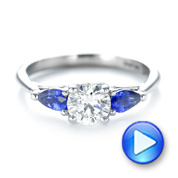 14k White Gold Custom Three Stone Blue Sapphire And Diamond Engagement Ring - Video -  103507 - Thumbnail