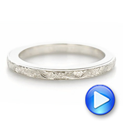 Platinum Platinum Custom Unplated Hand Engraved Wedding Band - Video -  103516 - Thumbnail