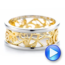 Platinum And 18k Yellow Gold Custom Two-tone Filigree Men's Band - Video -  103517 - Thumbnail