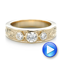 Custom Yellow Gold Three Stone Diamond Engagement Ring - Interactive Video - 103520 - Thumbnail