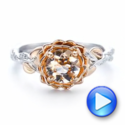Custom Two-Tone Morganite and Diamond Engagement Ring - Interactive Video - 103524 - Thumbnail
