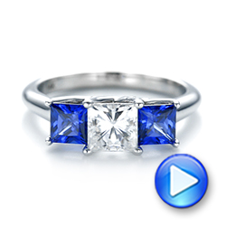 14k White Gold Custom Three Stone Blue Sapphire And Diamond Engagement Ring - Video -  103529 - Thumbnail