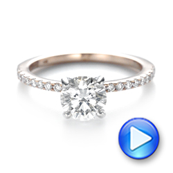 14k Rose Gold And 14K Gold Custom Two-tone Diamond Engagement Ring - Video -  103533 - Thumbnail
