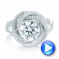 Custom Diamond Pave Engagement Ring - Interactive Video - 103544 - Thumbnail