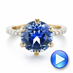 14k Yellow Gold Custom Blue Sapphire And Diamond Engagement Ring - Video -  103545 - Thumbnail