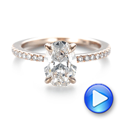 14k Rose Gold Custom Diamond Engagement Ring - Video -  103550 - Thumbnail