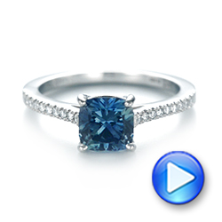 14k White Gold 14k White Gold Custom Blue-green Sapphire And Diamond Engagement Ring - Video -  103590 - Thumbnail