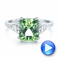 Custom Green Tourmaline and Diamond Engagement Ring - Interactive Video - 103593 - Thumbnail