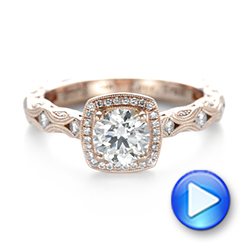 18k Rose Gold 18k Rose Gold Custom Diamond Halo Engagement Ring - Video -  103596 - Thumbnail