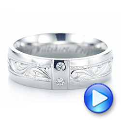 Platinum Custom Hand Engraved Diamond Men's Band - Video -  103598 - Thumbnail