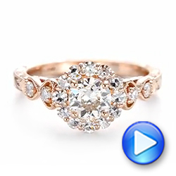 14k Rose Gold Custom Diamond Engagement Ring - Video -  103600 - Thumbnail
