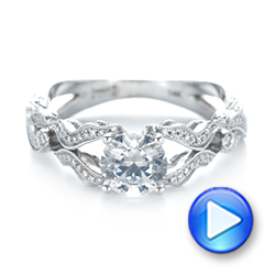 Hand Engraved Diamond Engagement Ring - Interactive Video - 103603 - Thumbnail