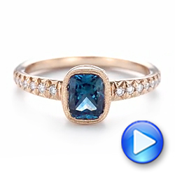Custom Blue-Green Sapphire and Diamond Engagement Ring - Interactive Video - 103606 - Thumbnail
