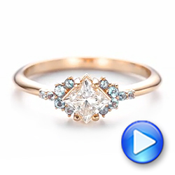 Custom Rose Gold Aquamarine and Diamond Engagement Ring - Interactive Video - 103617 - Thumbnail