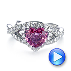 Platinum Custom Pink Sapphire And Diamond Halo Engagement Ring - Video -  103621 - Thumbnail