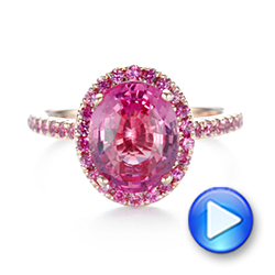 Custom Rose Gold Pink Sapphire Halo Engagement Ring - Interactive Video - 103630 - Thumbnail