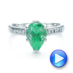 18k White Gold Custom Emerald And Diamond Engagement Ring - Video -  103631 - Thumbnail