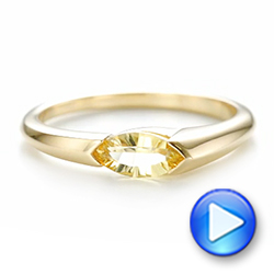 14k Yellow Gold Custom Marquise Citrine Fashion Ring - Video -  103635 - Thumbnail
