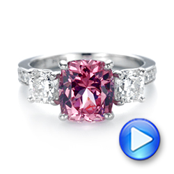 Platinum Custom Three Stone Spinel And Diamond Engagement Ring - Video -  103647 - Thumbnail