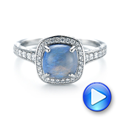 Platinum Custom Opal And Diamond Halo Engagement Ring - Video -  103648 - Thumbnail