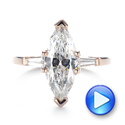 14k Rose Gold Custom Three Stone Diamond Engagement Ring - Video -  103650 - Thumbnail