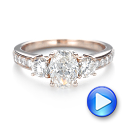 Custom Rose Gold Three Stone Diamond Engagement Ring - Interactive Video - 103651 - Thumbnail