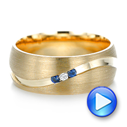 Custom Brushed Finish Blue Sapphire and Diamond Men's Band - Interactive Video - 103653 - Thumbnail