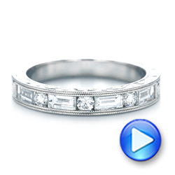 Custom Hand Engraved Diamond Wedding Band - Interactive Video - 103654 - Thumbnail