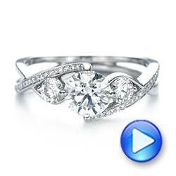 Custom Three Stone Diamond Engagement Ring - Interactive Video - 103655 - Thumbnail