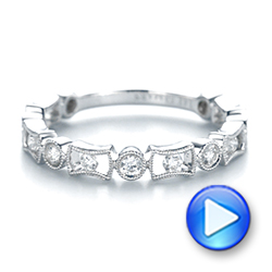 14k White Gold Stackable Women's Wedding Band - Video -  103667 - Thumbnail
