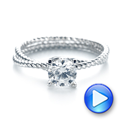 18k White Gold Braided Women's Engagement Ring - Video -  103674 - Thumbnail