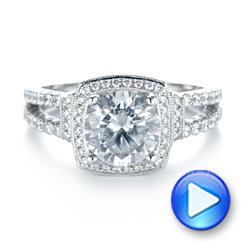 18k White Gold Halo Diamond Engagement Ring - Video -  103716 - Thumbnail