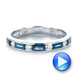 14k White Gold Blue Sapphire And Diamond Wedding Band - Video -  103755 - Thumbnail