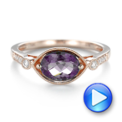 18k Rose Gold 18k Rose Gold East-west Amethyst And Diamond Ring - Video -  103756 - Thumbnail
