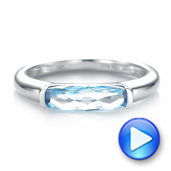 14k White Gold Blue Topaz Stackable Fashion Ring - Video -  103760 - Thumbnail