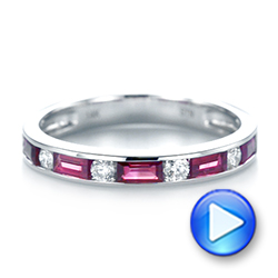 14k White Gold Ruby And Diamond Wedding Band - Video -  103761 - Thumbnail