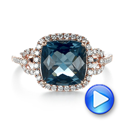 14k Rose Gold London Blue Topaz And Diamond Halo Fashion Ring - Video -  103767 - Thumbnail