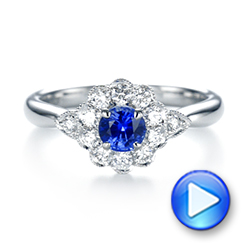 Blue Sapphire and Diamond Floral Halo Ring - Interactive Video - 103768 - Thumbnail
