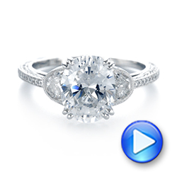 14k White Gold 14k White Gold Three-stone Diamond Engagement Ring - Video -  103774 - Thumbnail