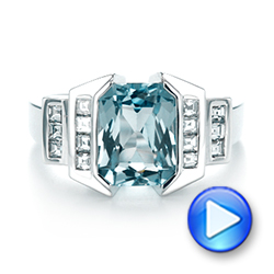14k White Gold Custom Aquamarine And Diamond Engagement Ring - Video -  103824 - Thumbnail