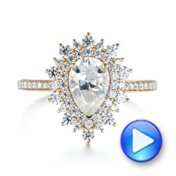 14k Yellow Gold Custom Double Halo Diamond Engagement Ring - Video -  103825 - Thumbnail