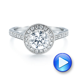 Halo Diamond Engagement Ring - Interactive Video - 103828 - Thumbnail