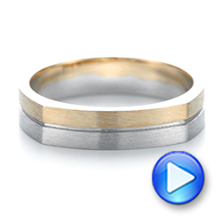 14k Yellow Gold And 14K Gold Custom Two-tone Men's Wedding Band - Video -  103842 - Thumbnail