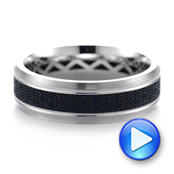 Carbon Fiber Inlay Wedding Band - Video -  103850 - Thumbnail