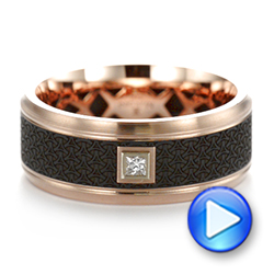 Carbon Fiber Inlay and Gold Wedding Band - Interactive Video - 103853 - Thumbnail
