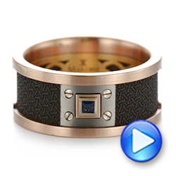 Carbon Fiber Inlay Blue Sapphire Wedding Band - Video -  103859 - Thumbnail