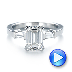 Custom Three Stone Diamond Engagement Ring - Interactive Video - 103866 - Thumbnail