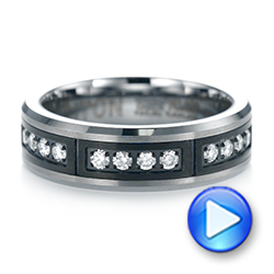 Black and White Tungsten Men's Wedding Band - Interactive Video - 103880 - Thumbnail